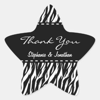 Black and White Zebra Wedding Thank You V12 Star Sticker