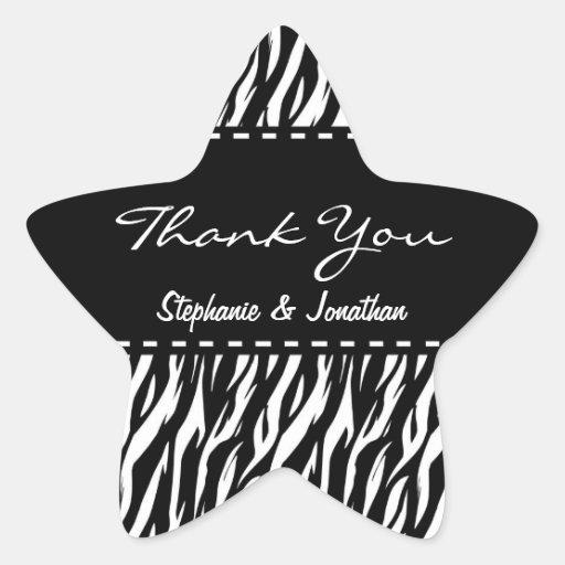 Black and White Zebra Wedding Thank You V12 Sticker