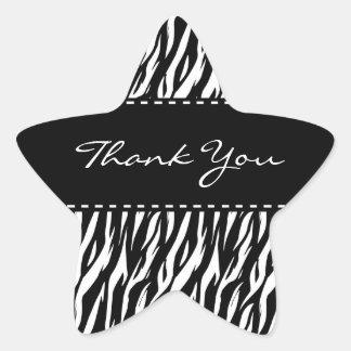 Black and White Zebra Wedding Thank You V13 Star Sticker