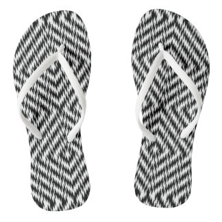 Black and White Zig Zag Flip Flops