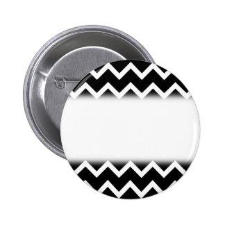 Black and White Zig Zag Pattern. 6 Cm Round Badge