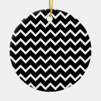 Black and White Zig Zag Pattern. Christmas Ornament
