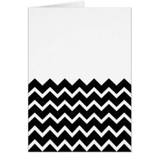 Black and White Zig Zag Pattern. Part Plain. Greeting Card