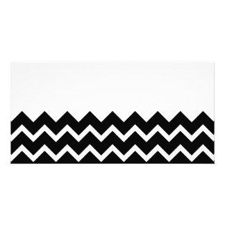 Black and White Zig Zag Pattern. Part Plain. Photo Greeting Card