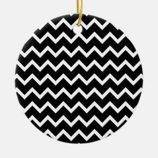 Black and White Zig Zag Pattern. Round Ceramic Decoration