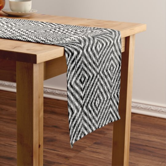 Black and White Zig Zag Short Table Runner