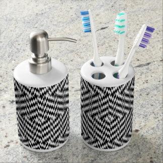 Black and White Zig Zag Soap Dispenser And Toothbrush Holder