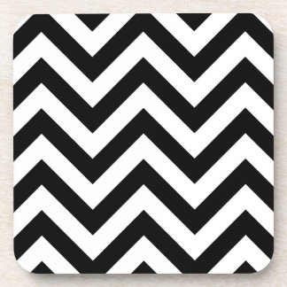 Black and white Zigzag Chevron Pattern Coaster
