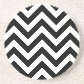 Black and white Zigzag Chevron Pattern Coaster