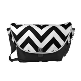Black and white  Zigzag Chevron Pattern Commuter Bags