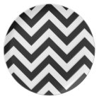 Black and white  Zigzag Chevron Pattern Plate