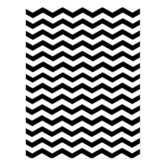 Black And White Zigzag Chevron Pattern Postcard