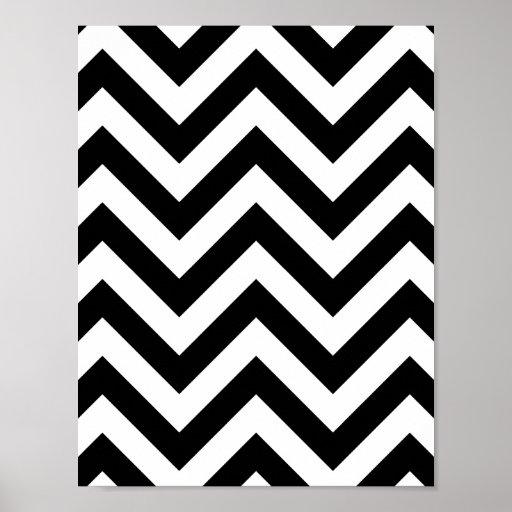 Black and white  Zigzag Chevron Pattern Print