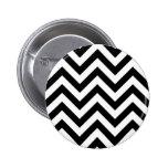 Black and white  Zigzag Chevrons Pattern 6 Cm Round Badge
