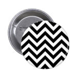 Black and white  Zigzag Chevrons Pattern Button