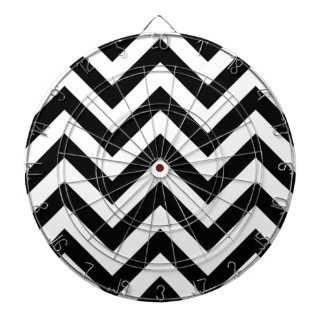 Black and white  Zigzag Chevrons Pattern Dart Board