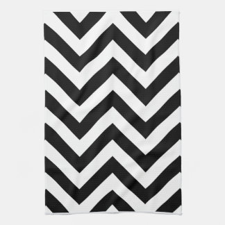 Black and white  Zigzag Chevrons Pattern Tea Towel
