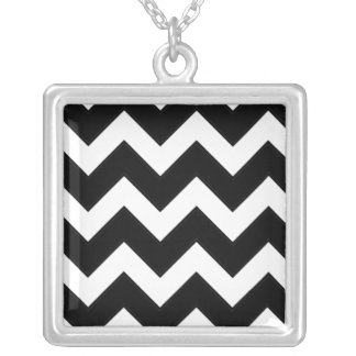 Black And White Zigzag Necklace