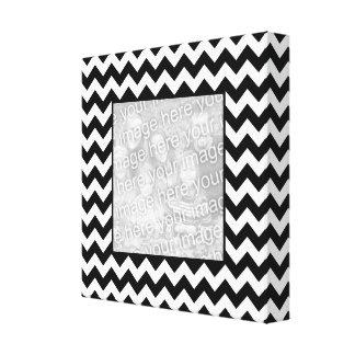 Black and White Zigzag Square Border Photo Canvas Print