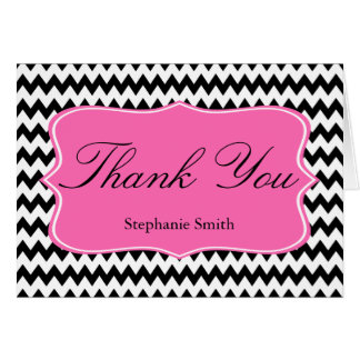 Black and White Zigzag with Hot Pink Bridal Shower Card