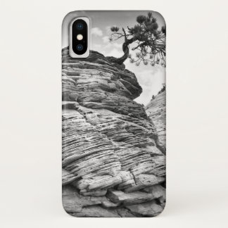 Black and White Zion Art Bonsai Tree iPhone X Case