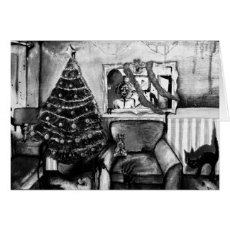 Black and white zombie Christmas card with poem