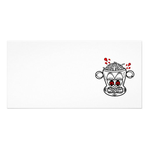 Black and white zombie monkey photo greeting card