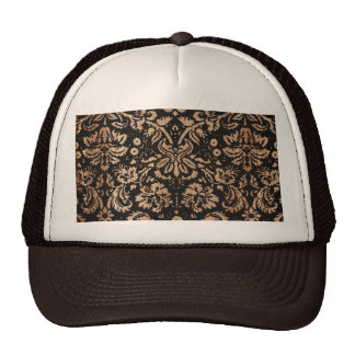 Black and Wood Damask Mesh Hat