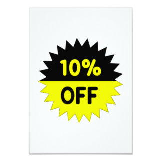 Black and Yellow 10 Percent Off 9 Cm X 13 Cm Invitation Card