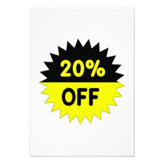 Black and Yellow 20 Percent Off Announcements