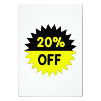 Black and Yellow 20 Percent Off 9 Cm X 13 Cm Invitation Card
