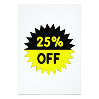 Black and Yellow 25 Percent Off 9 Cm X 13 Cm Invitation Card