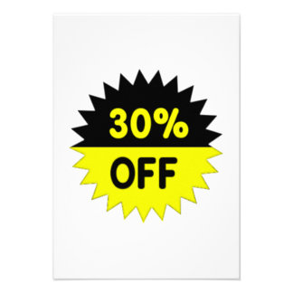 Black and Yellow 30 Percent Off Custom Announcements