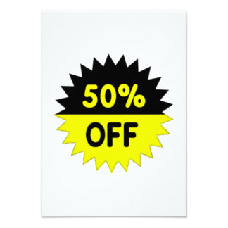 Black and Yellow 50 Percent Off 9 Cm X 13 Cm Invitation Card
