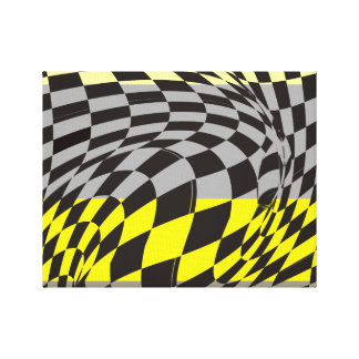 Black and Yellow Abstract Art Gallery Wrapped Canvas
