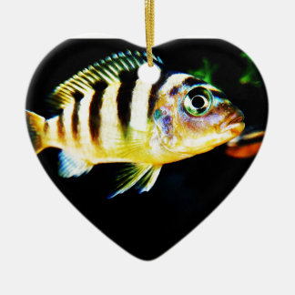 Black and Yellow African Cichlid Fish Christmas Ornament