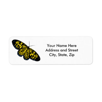 Black and yellow butterfly return address label