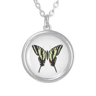 Black And Yellow Butterfly Silver Plated Necklace
