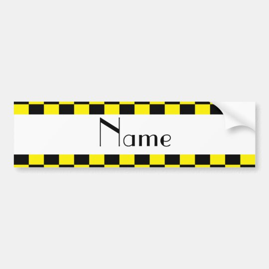 Black and yellow chequered pattern bumper sticker
