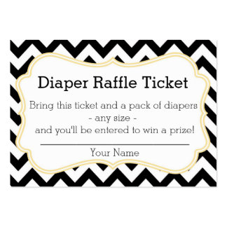 Black and Yellow Chevron Diaper Raffle Ticket Business Card Template