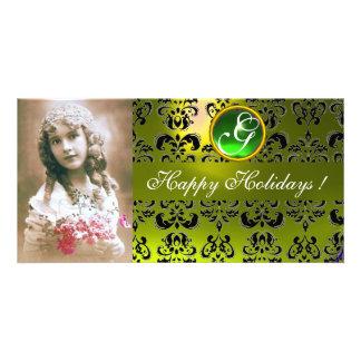 BLACK AND YELLOW DAMASK Green Emerald Monogram Custom Photo Card