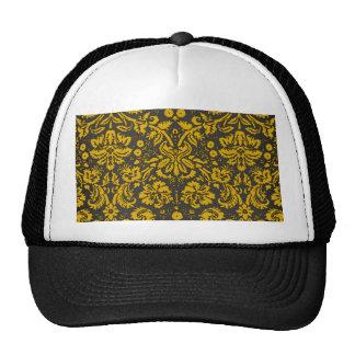 Black and Yellow Damask Mesh Hat
