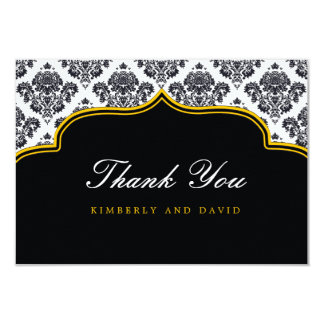 Black and Yellow Damask Label Thank You Card Personalized Invites