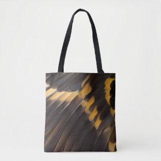 Black And Yellow Feather Abstract Tote Bag