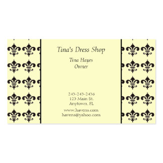 Black and Yellow Fleur De Lis Business Card