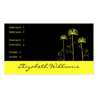 Black and Yellow Floral Business Card Template