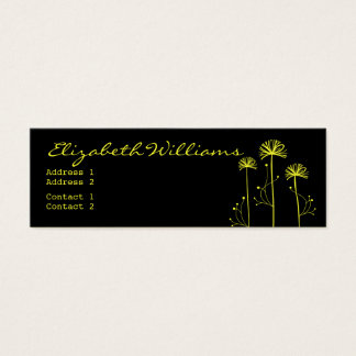 Black and Yellow Floral Mini Business Card