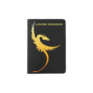 Black and Yellow Flying Dragon Passport Holder