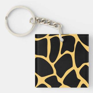 Black and Yellow Giraffe Print Pattern. Square Acrylic Keychains