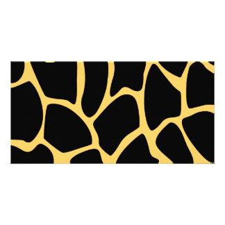 Black and Yellow Giraffe Print Pattern Personalized Photo Card